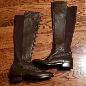 Micheal Kors Brown Leather Zip Up Flat Boots